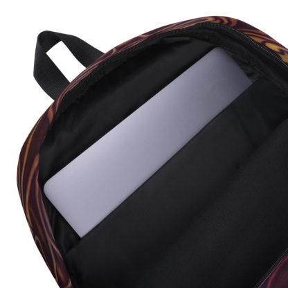 CAVIS Celtic Dragon Design Backpack, Alternative Burgundy and Gold Book Bag - Inside Pocket