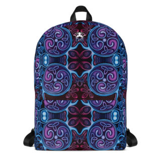 CAVIS Celtic Soul Design Backpack, Alternative Blue and Purple Book Bag - Front