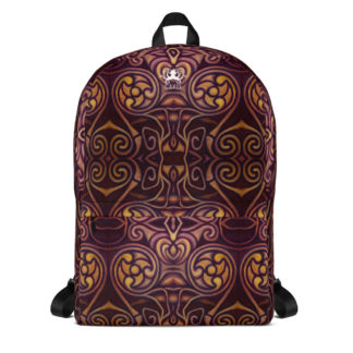 CAVIS Celtic Dragon Design Backpack, Alternative Burgundy and Gold Book Bag - Front