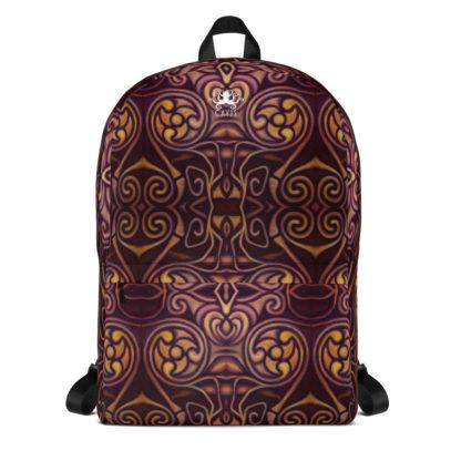 CAVIS Celtic Dragon Design Backpack, Alternative Burgundy and Gold Book Bag - Front