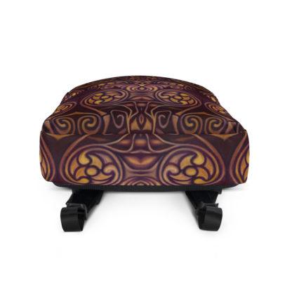 CAVIS Celtic Dragon Design Backpack, Alternative Burgundy and Gold Book Bag - Bottom