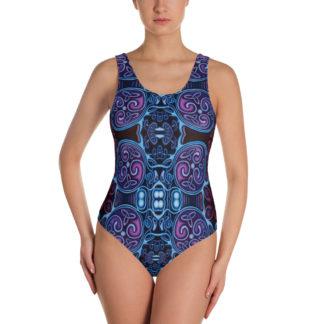 CAVIS Celtic Soul One-Piece Swimsuit, Alternative Blue and Purple Swimwear