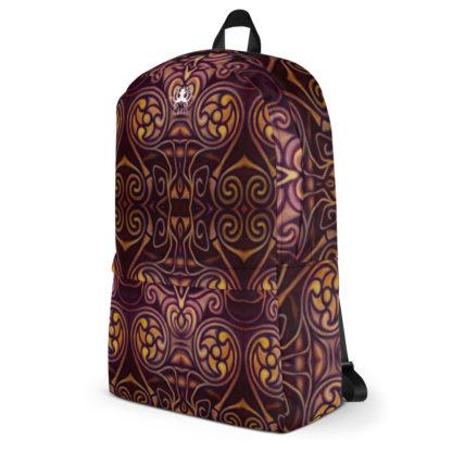 CAVIS Celtic Dragon Design Backpack, Alternative Burgundy and Gold Book Bag - Left