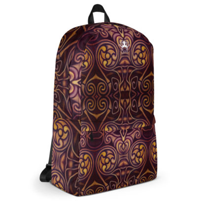 CAVIS Celtic Dragon Design Backpack, Alternative Burgundy and Gold Book Bag - Right