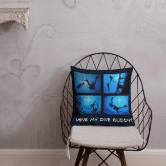 CAVIS Scuba Diver Silhouette Pillow - I Love My Dive Buddy - 4a