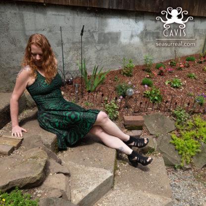 CAVIS Wonderpus Green and Black Skater Dress 1