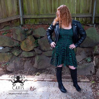 CAVIS Wonderpus Green and Black Skater Dress 2