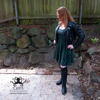 Wonderpus Green and Black Skater Dress 3