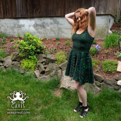Wonderpus Green and Black Skater Dress 4