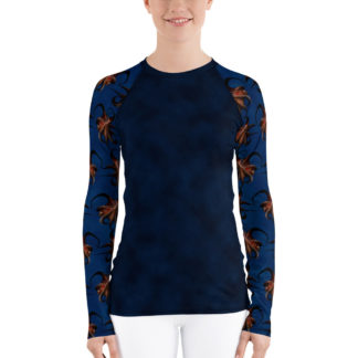 CAVIS Flying Octopus Sleeve Rash Guard - Dark Blue - Front