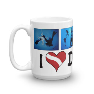 CAVIS Scuba Dive Silhouette Mug - I Love Diving - 15 oz. - Left