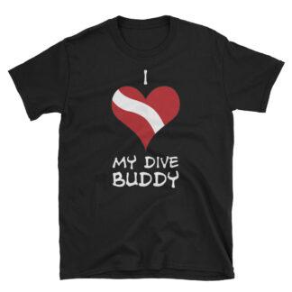 CAVIS Dive Flag Heart T-Shirt - Black - Scuba Diver Shirt - I Love My Dive Buddy - Front