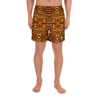 CAVIS Wonderpus Athletic Men's Shorts - Yellow Orange Octopus Pattern - Front