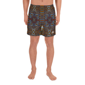 CAVIS Wonderpus Athletic Men's Shorts - Orange Blue Octopus Pattern - Front