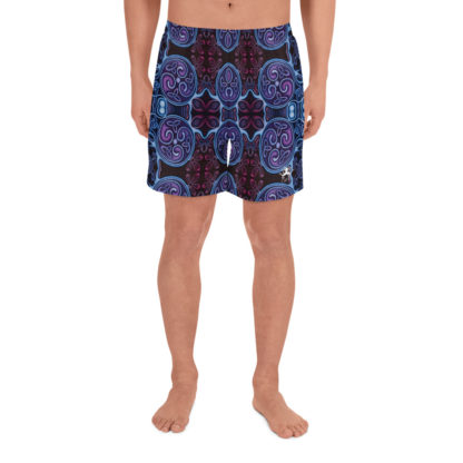 CAVIS Celtic Soul Athletic Men's Shorts - Purple Blue Pattern - Front