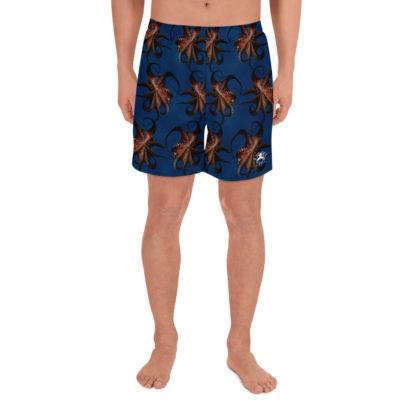 CAVIS Flying Octopus Men's Shorts - Dark Blue Athletic Shorts - Front