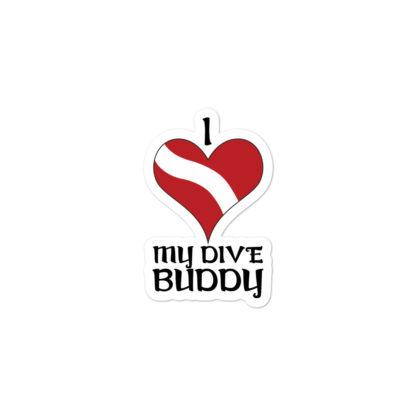 CAVIS Dive Flag Heart Sticker - Love My Buddy - 3in