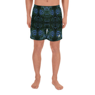 CAVIS Celtic Soul Athletic Men's Shorts - Green Blue Pattern - Front