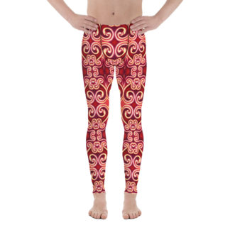 CAVIS Celtic Fire Men's Leggings - Red Pattern Scuba Dive Skin - Front