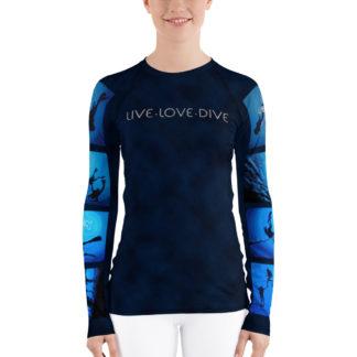 CAVIS Diver Silhouette Women's Rash Guard - Scuba Dive Skin Swim Shirt - Front