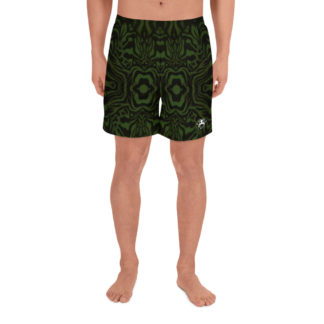 CAVIS Wonderpus Athletic Men's Shorts - Green Octopus Pattern - Front