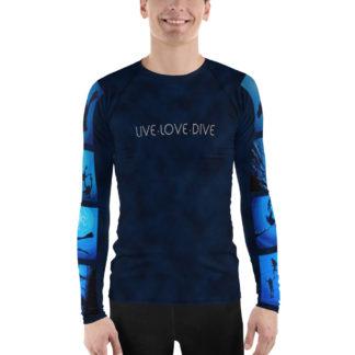 CAVIS Diver Silhouette Men's Rash Guard - Scuba Dive Skin Swim Shirt - Front