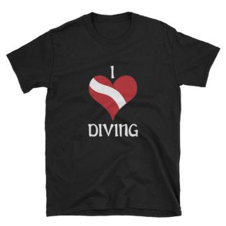 CAVIS Dive Flag Heart T-Shirt - Black Scuba Diver Shirt - Front