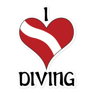 CAVIS Dive Flag Heart - Love Diving - 5.5in Sticker