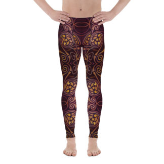 CAVIS Celtic Dragon Men's Leggings - Burgundy Pattern Scuba Dive Skin - Front