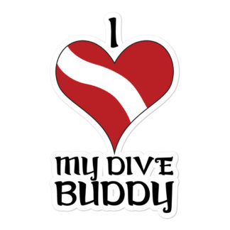CAVIS Dive Flag Heart Sticker - Love My Buddy - 5.5in