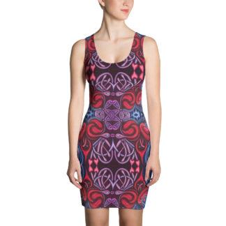 CAVIS Celtic Heart Women's Fitted Dress - Red Blue Pattern Sexy Dress - Front