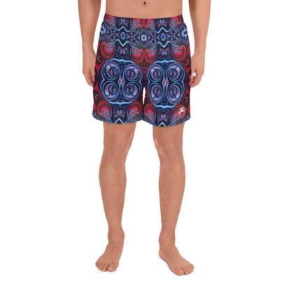 CAVIS Celtic Heart Athletic Men's Shorts - Red Blue Pattern - Front