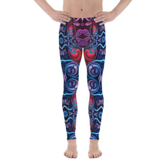 CAVIS Celtic Heart Men's Leggings - Red Blue Pattern Scuba Dive Skin - Front