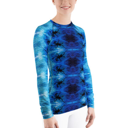 CAVIS Blue Ocean Octopus Pattern Rash Guard - Women's Bright Blue Swim Shirt - Right