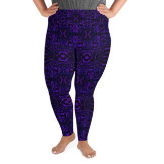 CAVIS Wonderpus Women's High Waist Plus Size Leggings - Purple Scuba Dive Skin - Front