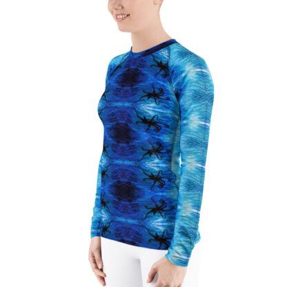 CAVIS Blue Ocean Octopus Pattern Rash Guard - Women's Bright Blue Swim Shirt - Left