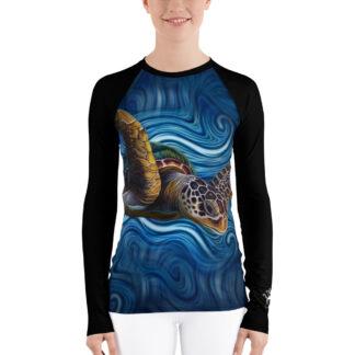 CAVIS Sea Turtle Women's Rash Guard - Blue Dive Skin - Front