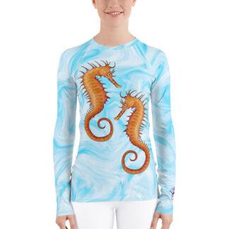 CAVIS Seahorse Women's Rash Guard - Light Blue Scuba Dive Skin - Front