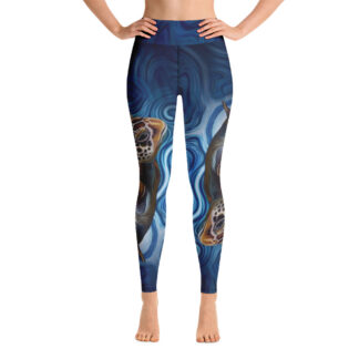 CAVIS Sea Turtle Women's High Waist Leggings - Blue - Front