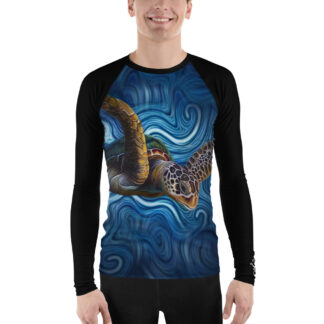 CAVIS Sea Turtle Men's Rash Guard - Blue Dive Skin - Front