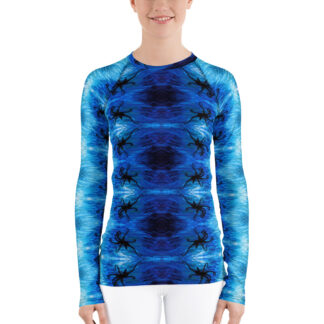 CAVIS Blue Ocean Octopus Pattern Rash Guard - Women's Bright Blue Swim Shirt - Front