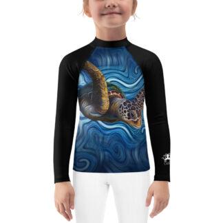 CAVIS Sea Turtle Kid's Rash Guard - Blue Dive Skin - Front