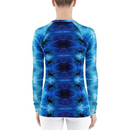 CAVIS Blue Ocean Octopus Pattern Rash Guard - Women's Bright Blue Swim Shirt - Back