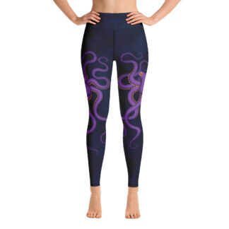CAVIS Purple Octopus Women's High Waist Leggings - Blue Scuba Dive Skin - Front