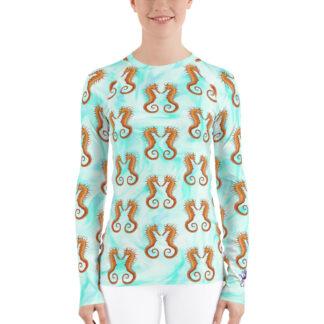 CAVIS Seahorse Pattern Rash Guard - Men's Light Blue Swim Shirt - Front