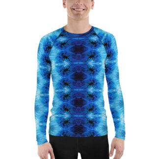 CAVIS Blue Ocean Octopus Pattern Rash Guard - Men's Bright Blue Swim Shirt - Front