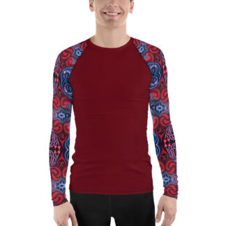 CAVIS Celtic Heart Sleeves Men's Rash Guard - Artsy Dive Skin Swim Shirt - Front