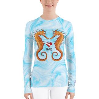 CAVIS Seahorse Couple Women's Rash Guard - I Love My Dive Buddy - Dive Skin Swim Shirt - Front