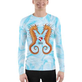 CAVIS Seahorse Couple Men's Rash Guard - I Love My Dive Buddy - Dive Skin Swim Shirt - Front