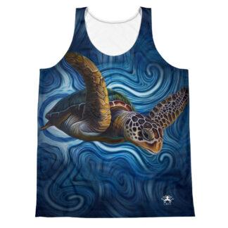 CAVIS Tea Turtle Tank Top - Blue Sleeveless Shirt - Front